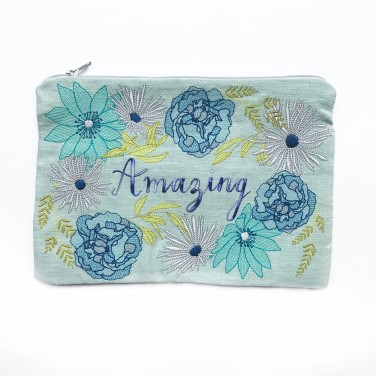 Zipper Pouch, Pouch Bag, Cosmetic Pouch, Embroidery Flowers, Handmade Gift, Embroidered Bag, Personalised Pouch, Flower Pouch, Handmade Bag - Amazing - Kirsty Freeman Design