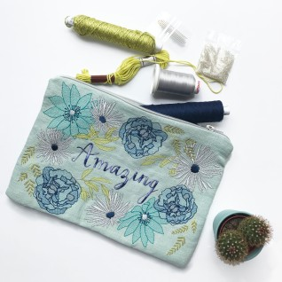 Zipper Pouch, Pouch Bag, Cosmetic Pouch, Embroidery Flowers, Handmade Gift, Embroidered Bag, Personalised Pouch, Flower Pouch, Handmade Bag - Duck Egg - Kirsty Freeman Design