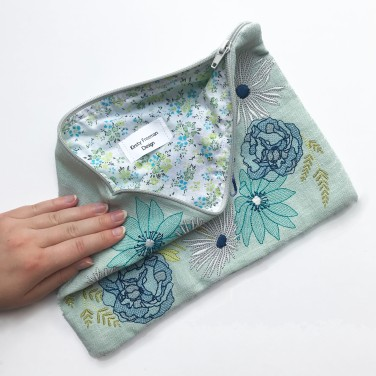 Zipper Pouch, Pouch Bag, Cosmetic Pouch, Embroidery Flowers, Handmade Gift, Embroidered Bag, Personalised Pouch, Flower Pouch, Handmade Bag - Printed Lining - Kirsty Freeman Design