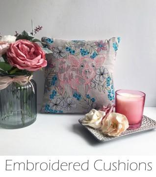 Kirsty Freeman Design - Embroidered Cushion, Animal Pillow, Animal Cushion, Decorative Pillow, Handmade Cushion, Handmade Pillow, Fancy Cushion, Linen Cushion, Throw Pillow