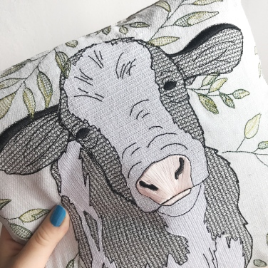 Kirsty Freeman Design - Embroidered Cushion, Animal Pillow, Cow Cushion, Decorative Pillow, Handmade Cushion, Cow Pillow, Fancy Cushion, Linen Cushion, Throw Pillow 1