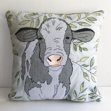 Kirsty Freeman Design - Embroidered Cushion, Animal Pillow, Cow Cushion, Decorative Pillow, Handmade Cushion, Cow Pillow, Fancy Cushion, Linen Cushion, Throw Pillow 2