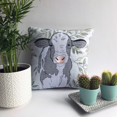 Kirsty Freeman Design - Embroidered Cushion, Animal Pillow, Cow Cushion, Decorative Pillow, Handmade Cushion, Cow Pillow, Fancy Cushion, Linen Cushion, Throw Pillow