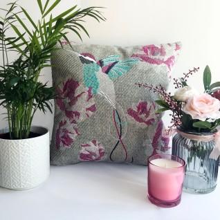 Kirsty Freeman Design - Embroidered Cushion, Hummingbird Cushion, Animal Pillow, Bird Cushion, Decorative Pillow, Handmade Cushion, Bird Pillow, Fancy Cushion, Linen Cushion, Throw Pillow, Hummingbird Pillow
