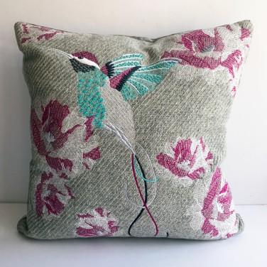 Kirsty Freeman Design - Embroidered Cushion, Hummingbird Cushion, Animal Pillow, Bird Cushion, Decorative Pillow, Handmade Cushion, Bird Pillow, Fancy Cushion, Linen Cushion, Throw Pillow, Hummingbird Pillow 1