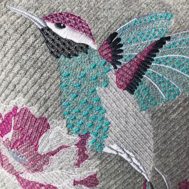 Kirsty Freeman Design - Embroidered Cushion, Hummingbird Cushion, Animal Pillow, Bird Cushion, Decorative Pillow, Handmade Cushion, Bird Pillow, Fancy Cushion, Linen Cushion, Throw Pillow, Hummingbird Pillow 2