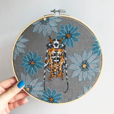 Kirsty Freeman Design - Embroidery Hoop Art, Wall Art, Beetle Art, Art for Sale, Contemporary Embroidery, Modern Embroidery, Embroidery Art, Wall Decor, Embroidery Hoop, Bedroom Wall Decor, Modern Wall Art, Wall Art Decor