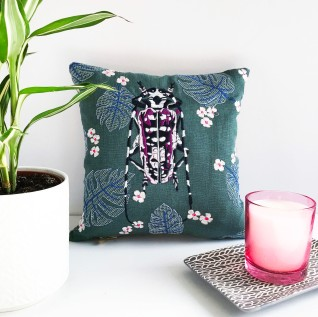 Kirsty Freeman Design - Embroidered Cushion, Animal Pillow, Beetle Cushion, Decorative Pillow, Handmade Cushion, Beetle Pillow, Fancy Cushion, Linen Cushion, Throw Pillow 2