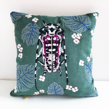 Kirsty Freeman Design - Embroidered Cushion, Animal Pillow, Beetle Cushion, Decorative Pillow, Handmade Cushion, Beetle Pillow, Fancy Cushion, Linen Cushion, Throw Pillow 3