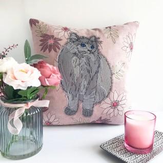 Kirsty Freeman Design - Embroidered Cushion, Animal Pillow, Cat Cushion, Decorative Pillow, Handmade Cushion, Cat Pillow, Fancy Cushion, Linen Cushion, Throw Pillow 4