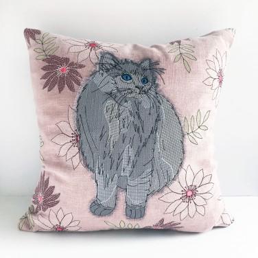 Kirsty Freeman Design - Embroidered Cushion, Animal Pillow, Cat Cushion, Decorative Pillow, Handmade Cushion, Cat Pillow, Fancy Cushion, Linen Cushion, Throw Pillow