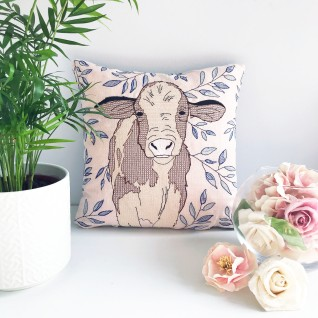 Kirsty Freeman Design - Embroidered Cushion, Animal Pillow, Cow Cushion, Decorative Pillow, Handmade Cushion, Cow Pillow, Fancy Cushion, Linen Cushion, Throw Pillow 3