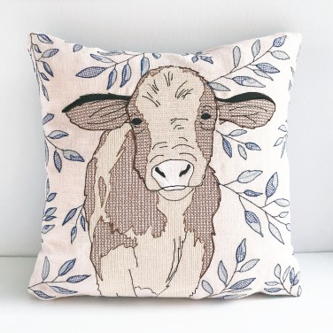 Kirsty Freeman Design - Embroidered Cushion, Animal Pillow, Cow Cushion, Decorative Pillow, Handmade Cushion, Cow Pillow, Fancy Cushion, Linen Cushion, Throw Pillow 4
