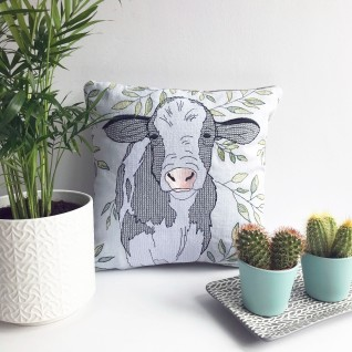 Kirsty Freeman Design - Embroidered Cushion, Animal Pillow, Cow Cushion, Decorative Pillow, Handmade Cushion, Cow Pillow, Fancy Cushion, Linen Cushion, Throw Pillow