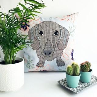 Kirsty Freeman Design - Embroidered Cushion, Animal Pillow, Dachshund Cushion, Decorative Pillow, Handmade Cushion, Dachshund Pillow, Fancy Cushion, Linen Cushion, Throw Pillow 2