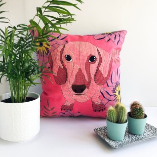 Kirsty Freeman Design - Embroidered Cushion, Animal Pillow, Dachshund Cushion, Decorative Pillow, Handmade Cushion, Dachshund Pillow, Fancy Cushion, Linen Cushion, Throw Pillow 4