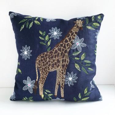 Kirsty Freeman Design - Embroidered Cushion, Animal Pillow, Giraffe Cushion, Decorative Pillow, Handmade Cushion, Giraffe Pillow, Fancy Cushion, Linen Cushion, Throw Pillow 2
