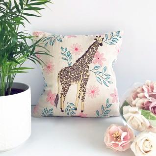 Kirsty Freeman Design - Embroidered Cushion, Animal Pillow, Giraffe Cushion, Decorative Pillow, Handmade Cushion, Giraffe Pillow, Fancy Cushion, Linen Cushion, Throw Pillow 3