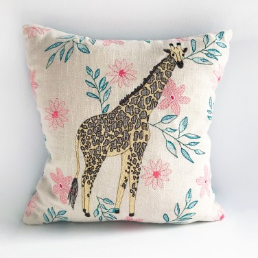 Kirsty Freeman Design - Embroidered Cushion, Animal Pillow, Giraffe Cushion, Decorative Pillow, Handmade Cushion, Giraffe Pillow, Fancy Cushion, Linen Cushion, Throw Pillow 4
