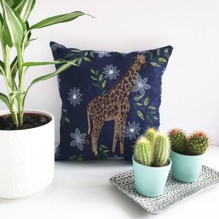 Kirsty Freeman Design - Embroidered Cushion, Animal Pillow, Giraffe Cushion, Decorative Pillow, Handmade Cushion, Giraffe Pillow, Fancy Cushion, Linen Cushion, Throw Pillow