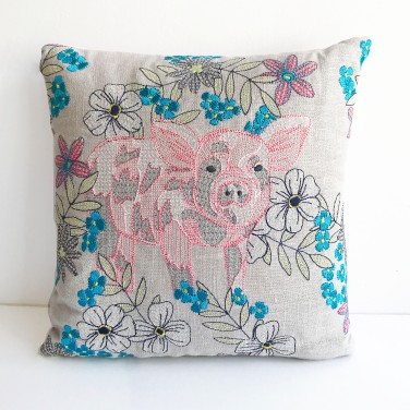 Kirsty Freeman Design - Embroidered Cushion, Animal Pillow, Pig Cushion, Decorative Pillow, Handmade Cushion, Pig Pillow, Fancy Cushion, Linen Cushion, Throw Pillow 5