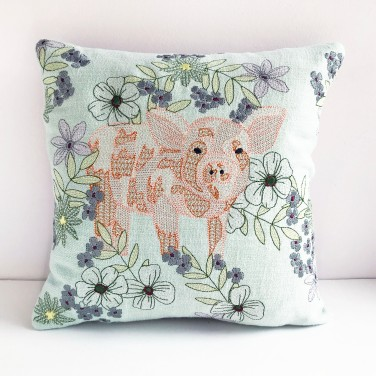 Kirsty Freeman Design - Embroidered Cushion, Animal Pillow, Pig Cushion, Decorative Pillow, Handmade Cushion, Pig Pillow, Fancy Cushion, Linen Cushion, Throw Pillow 7