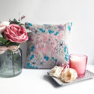 Kirsty Freeman Design - Embroidered Cushion, Animal Pillow, Pig Cushion, Decorative Pillow, Handmade Cushion, Pig Pillow, Fancy Cushion, Linen Cushion, Throw Pillow
