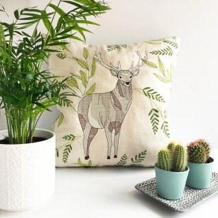 Kirsty Freeman Design - Embroidered Cushion, Animal Pillow, Stag Cushion, Decorative Pillow, Handmade Cushion, Stag Pillow, Fancy Cushion, Linen Cushion, Throw Pillow 4