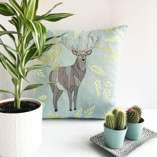 Kirsty Freeman Design - Embroidered Cushion, Animal Pillow, Stag Cushion, Decorative Pillow, Handmade Cushion, Stag Pillow, Fancy Cushion, Linen Cushion, Throw Pillow 5