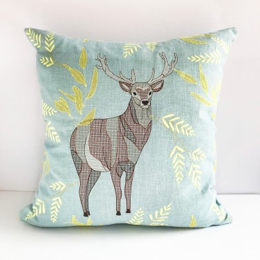 Kirsty Freeman Design - Embroidered Cushion, Animal Pillow, Stag Cushion, Decorative Pillow, Handmade Cushion, Stag Pillow, Fancy Cushion, Linen Cushion, Throw Pillow