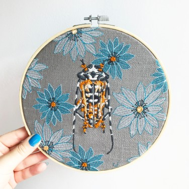 Kirsty Freeman Design - Embroidery Hoop Art, Wall Art, Beetle Art, Art for Sale, Contemporary Embroidery, Modern Embroidery, Embroidery Art, Wall Decor, Embroidery Hoop, Bedroom Wall Decor, Modern Wall Art, Wall Art Decor