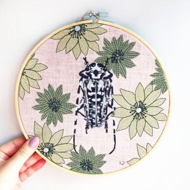 Kirsty Freeman Design - Embroidery Hoop Art, Wall Art, Beetle Art, Art for Sale, Contemporary Embroidery, Modern Embroidery, Embroidery Art, Wall Decor, Embroidery Hoop, Bedroom Wall Decor, Modern Wall Art, Wall Art Decor 13