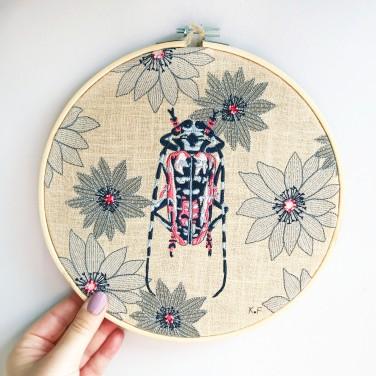 Kirsty Freeman Design - Embroidery Hoop Art, Wall Art, Beetle Art, Art for Sale, Contemporary Embroidery, Modern Embroidery, Embroidery Art, Wall Decor, Embroidery Hoop, Bedroom Wall Decor, Modern Wall Art, Wall Art Decor 15