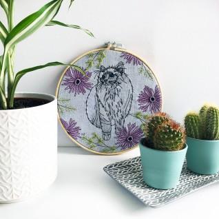 Kirsty Freeman Design - Embroidery Hoop Art, Wall Art, Cat Art, Art for Sale, Contemporary Embroidery, Modern Embroidery, Embroidery Art, Wall Decor, Embroidery Hoop, Bedroom Wall Decor, Modern Wall Art, Wall Art Decor