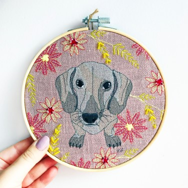 Kirsty Freeman Design - Embroidery Hoop Art, Wall Art, Dachshund Art, Art for Sale, Contemporary Embroidery, Modern Embroidery, Embroidery Art, Wall Decor, Embroidery Hoop, Bedroom Wall Decor, Modern Wall Art, Wall Art Decor 3