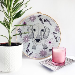 Kirsty Freeman Design - Embroidery Hoop Art, Wall Art, Dachshund Art, Art for Sale, Contemporary Embroidery, Modern Embroidery, Embroidery Art, Wall Decor, Embroidery Hoop, Bedroom Wall Decor, Modern Wall Art, Wall Art Decor 5