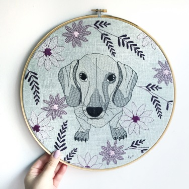 Kirsty Freeman Design - Embroidery Hoop Art, Wall Art, Dachshund Art, Art for Sale, Contemporary Embroidery, Modern Embroidery, Embroidery Art, Wall Decor, Embroidery Hoop, Bedroom Wall Decor, Modern Wall Art, Wall Art Decor