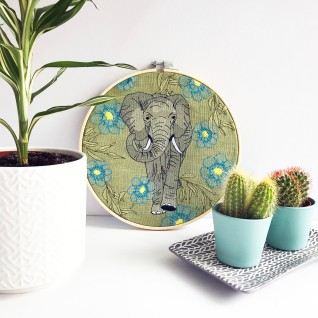 Kirsty Freeman Design - Embroidery Hoop Art, Wall Art, Elephant Art, Art for Sale, Contemporary Embroidery, Modern Embroidery, Embroidery Art, Wall Decor, Embroidery Hoop, Bedroom Wall Decor, Modern Wall Art, Wall Art Decor 5