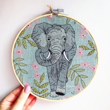 Kirsty Freeman Design - Embroidery Hoop Art, Wall Art, Elephant Art, Art for Sale, Contemporary Embroidery, Modern Embroidery, Embroidery Art, Wall Decor, Embroidery Hoop, Bedroom Wall Decor, Modern Wall Art, Wall Art Decor 1