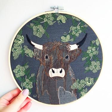 Kirsty Freeman Design - Embroidery Hoop Art, Wall Art, Highland Cow Art, Art for Sale, Contemporary Embroidery, Modern Embroidery, Embroidery Art, Wall Decor, Embroidery Hoop, Bedroom Wall Decor, Modern Wall Art, Wall Art Decor 5