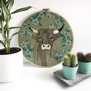 Kirsty Freeman Design - Embroidery Hoop Art, Wall Art, Highland Cow Art, Art for Sale, Contemporary Embroidery, Modern Embroidery, Embroidery Art, Wall Decor, Embroidery Hoop, Bedroom Wall Decor, Modern Wall Art, Wall Art Decor