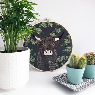 Kirsty Freeman Design - Embroidery Hoop Art, Wall Art, Highland Cow Art, Art for Sale, Contemporary Embroidery, Modern Embroidery, Embroidery Art, Wall Decor, Embroidery Hoop, Bedroom Wall Decor, Modern Wall Art, Wall Art Decor 4