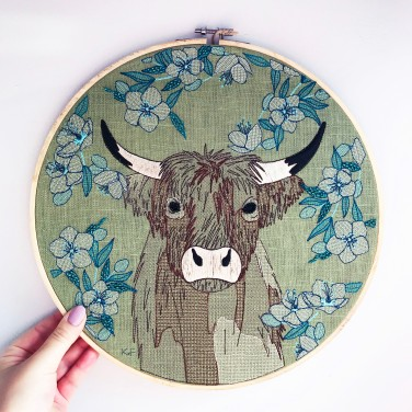 Kirsty Freeman Design - Embroidery Hoop Art, Wall Art, Highland Cow Art, Art for Sale, Contemporary Embroidery, Modern Embroidery, Embroidery Art, Wall Decor, Embroidery Hoop, Bedroom Wall Decor, Modern Wall Art, Wall Art Decor 1