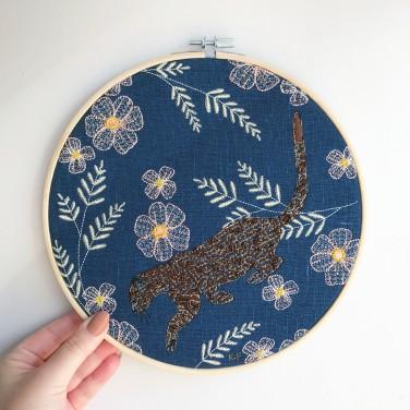 Kirsty Freeman Design - Embroidery Hoop Art, Wall Art, Leopard Art, Art for Sale, Contemporary Embroidery, Modern Embroidery, Embroidery Art, Wall Decor, Embroidery Hoop, Bedroom Wall Decor, Modern Wall Art, Wall Art Decor