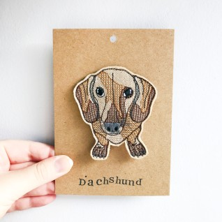Kirsty Freeman Design - Handmade Badge, Embroidered Badge, Animal Badge, Dachshund Badge, Fabric Badge, Pin Badge, Cute Pin Badges, Pretty Badge, Decorative Badge, Unique Badge