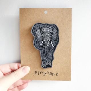 Kirsty Freeman Design - Handmade Badge, Embroidered Badge, Animal Badge, Elephant Badge, Fabric Badge, Pin Badge, Cute Pin Badges, Pretty Badge, Decorative Badge, Unique Badge