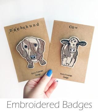 Kirsty Freeman Design - Handmade Badge, Embroidered Badge, Animal Badge, Fabric Badge, Pin Badge, Cute Pin Badges, Pretty Badge, Decorative Badge, Unique Badge