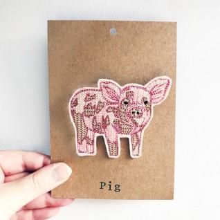 Kirsty Freeman Design - Handmade Badge, Embroidered Badge, Animal Badge, Pig Badge, Fabric Badge, Pin Badge, Cute Pin Badges, Pretty Badge, Decorative Badge, Unique Badge 3