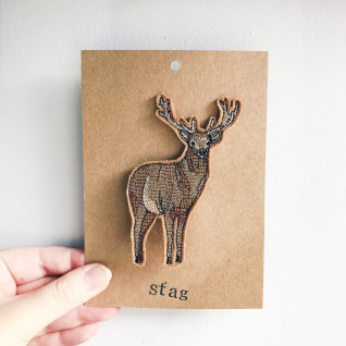 Kirsty Freeman Design - Handmade Badge, Embroidered Badge, Animal Badge, Stag Badge, Fabric Badge, Pin Badge, Cute Pin Badges, Pretty Badge, Decorative Badge, Unique Badge 2
