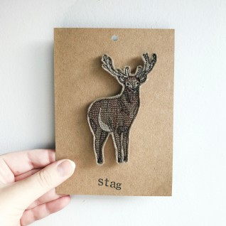 Kirsty Freeman Design - Handmade Badge, Embroidered Badge, Animal Badge, Stag Badge, Fabric Badge, Pin Badge, Cute Pin Badges, Pretty Badge, Decorative Badge, Unique Badge 3